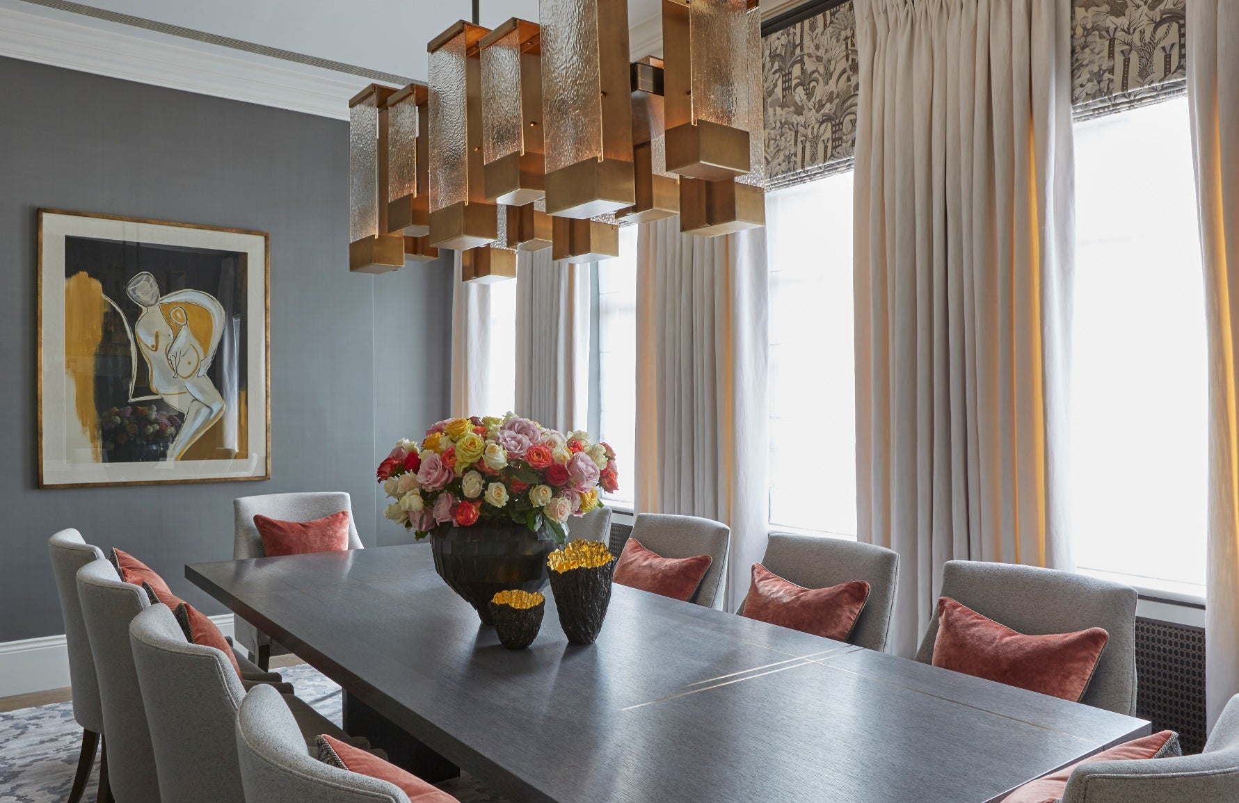 Coral and Grey Dining Room – Dining Room Colour Palettes - Dining Room Colour Schemes & Colour Combination ideas – Read in the LuxDeco.com Style Guide