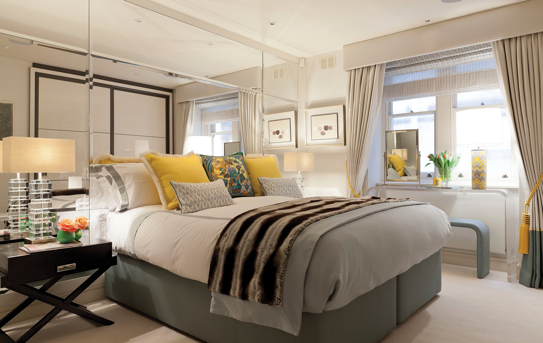 Headboard Alternatives | Mirrored Headboards | Bedroom interior by Taylor Howes | Luxury Bedroom Design| Read more in the LuxDeco.com Style Guide