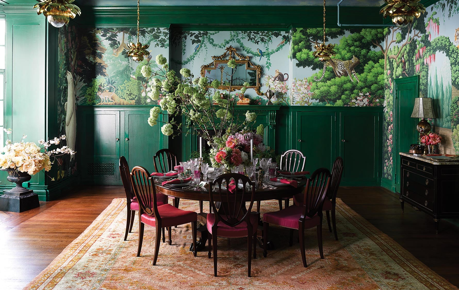 Green Interior Inspiration – Green Dining Room – Ken Fulk interiors – Kips Bay Show House – LuxDeco.com Style Guide