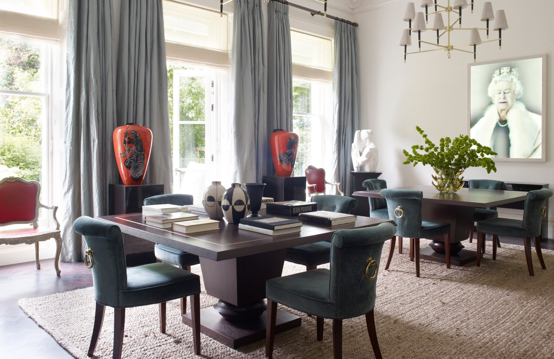 Green, Blue and Neutral Dining Room – Dining Room Colour Palettes - Dining Room Colour Schemes & Colour Combination ideas – Read in the LuxDeco.com Style Guide