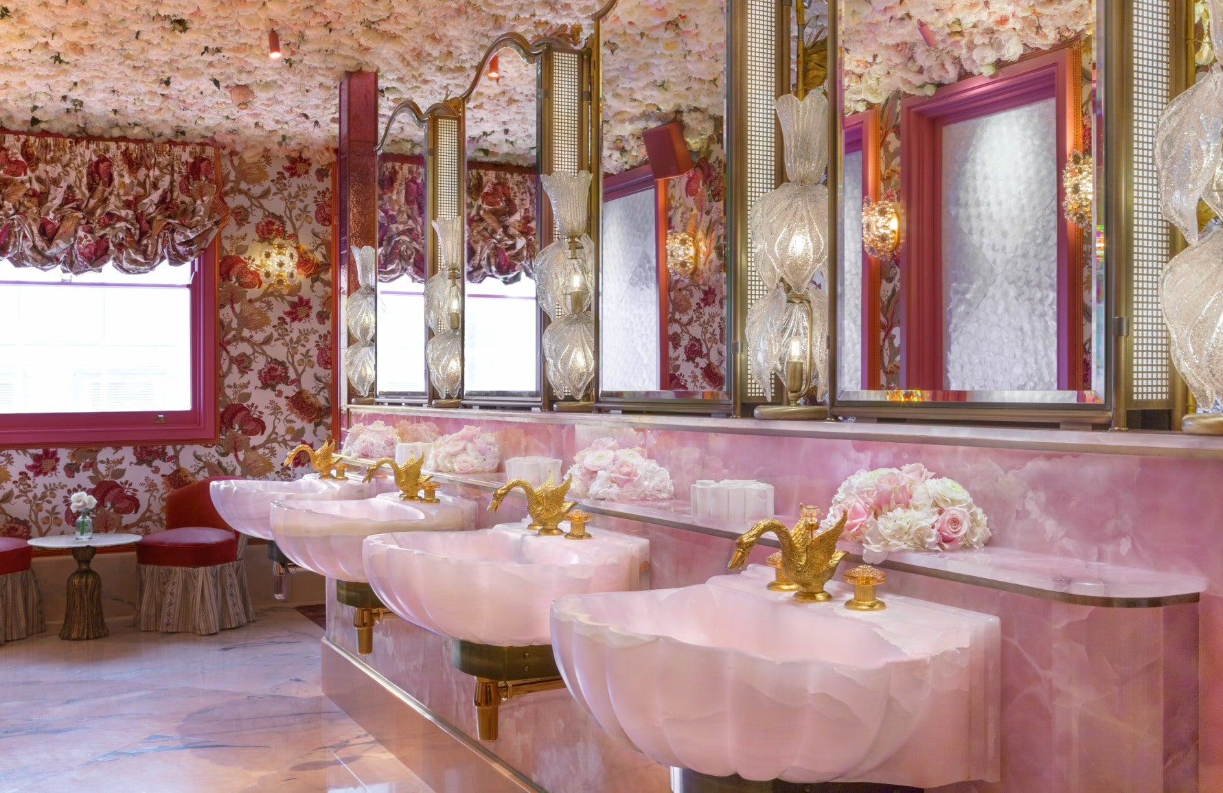 Annabel's Bathrooms | Pink Bathroom | Martin Brudnizki | Discover more in the LuxDeco Style Guide