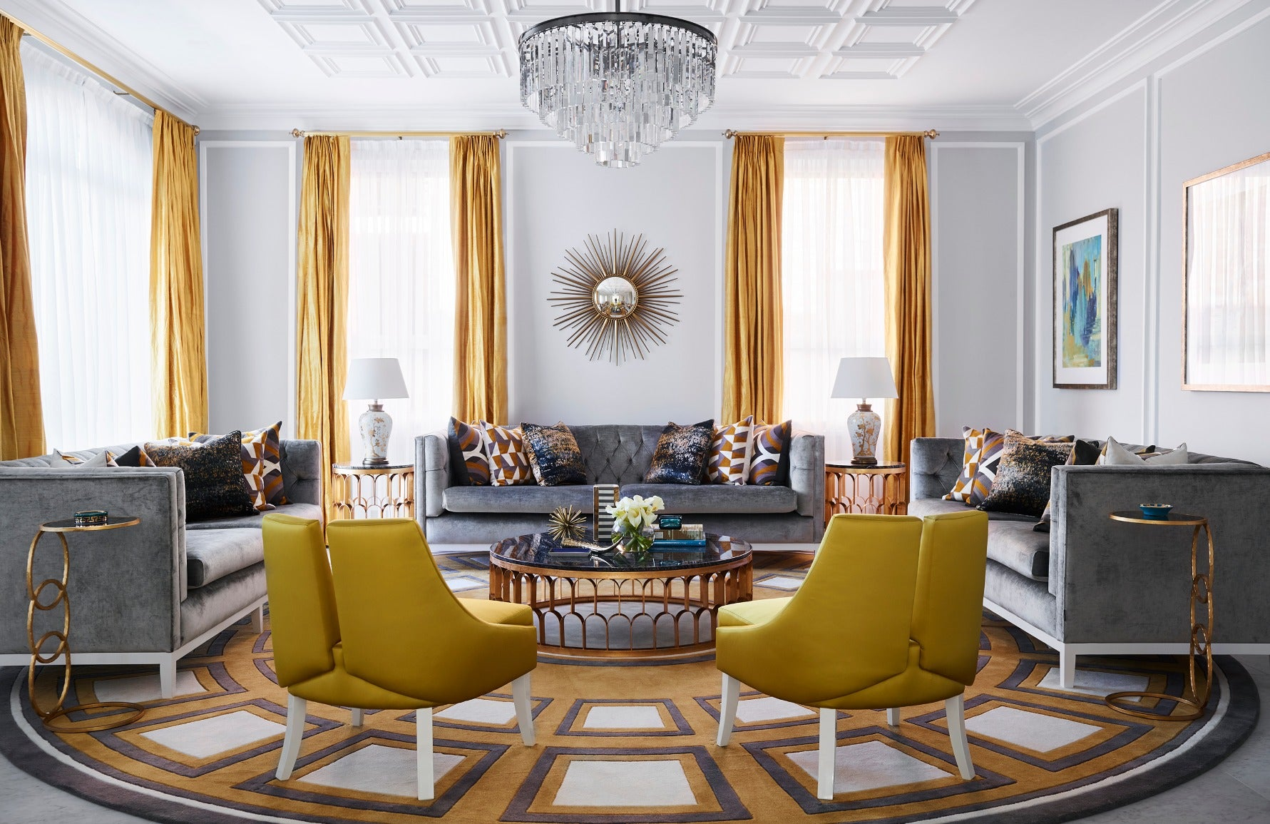 Best Yellow Living Room Ideas | Yellow Living Room Chair | Decorating with Yellow | LuxDeco.com Style Guide