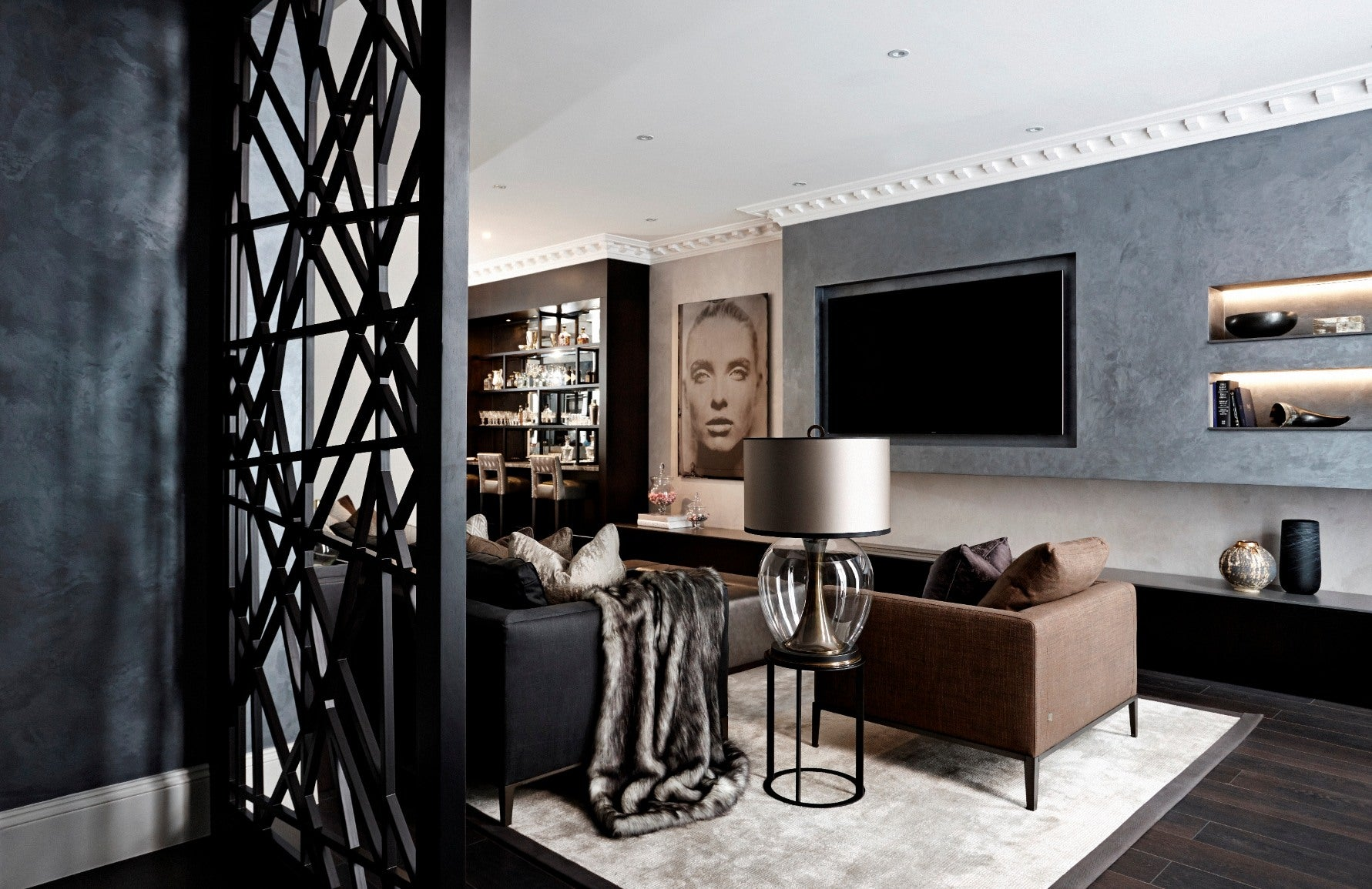 Black Living Room Ideas _ Bailey London _ Black and Grey Living Room _ Read more in the LuxDeco.com Style Guide