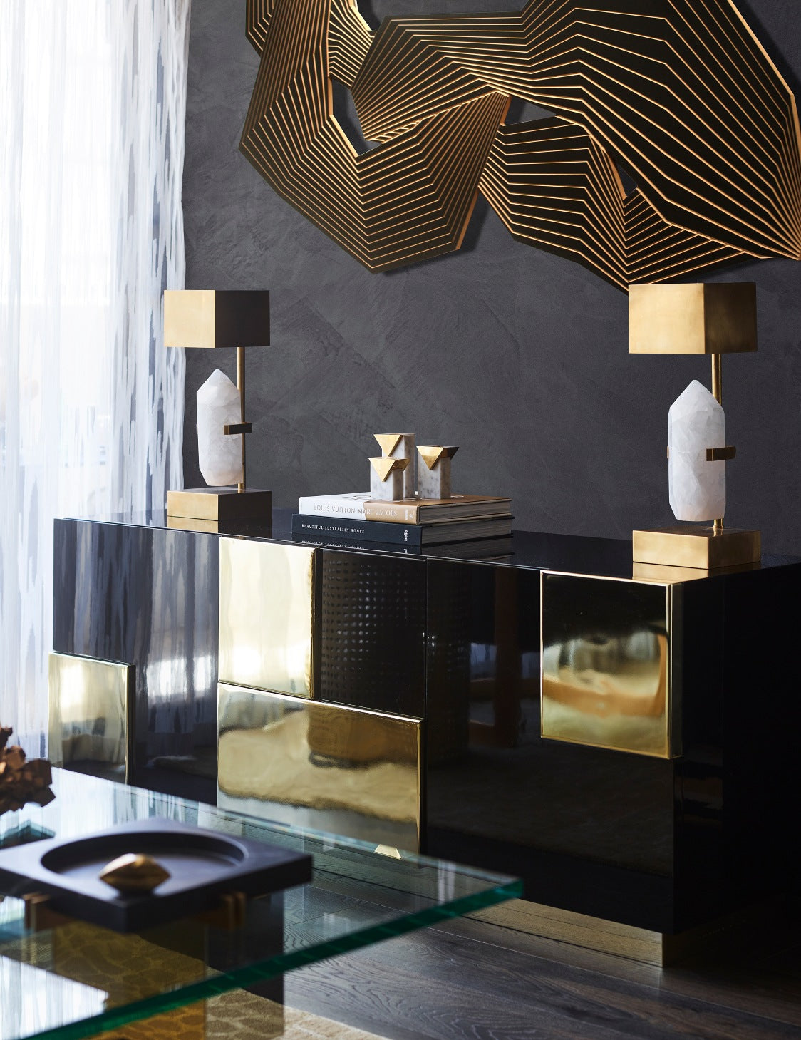 Black Living Room Ideas _ Greg Natale _ Black and Gold Furniture _ Read more in the LuxDeco.com Style Guide