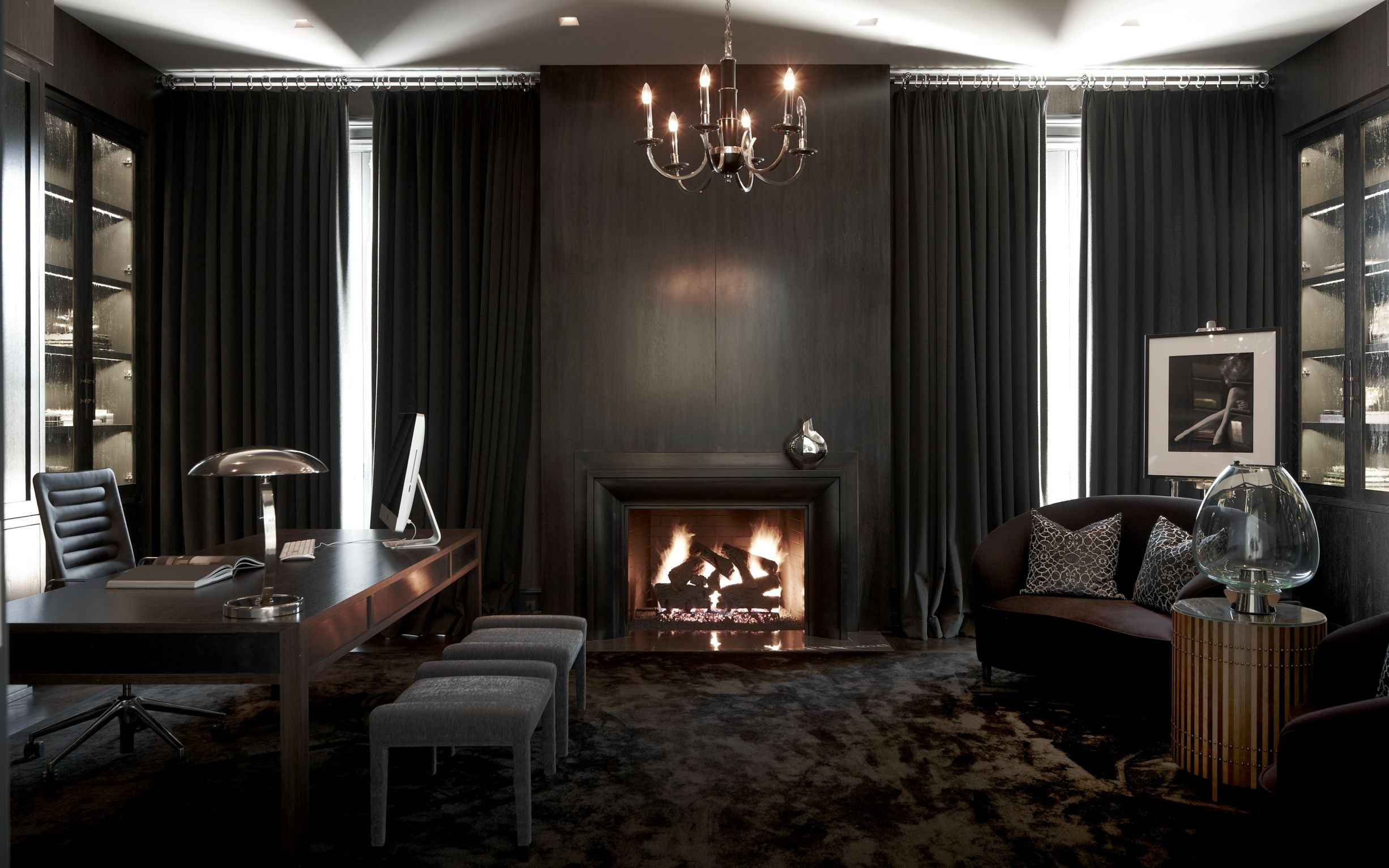 Blackened stone fireplaces | Feature Fireplace Design Ideas | LuxDeco.com