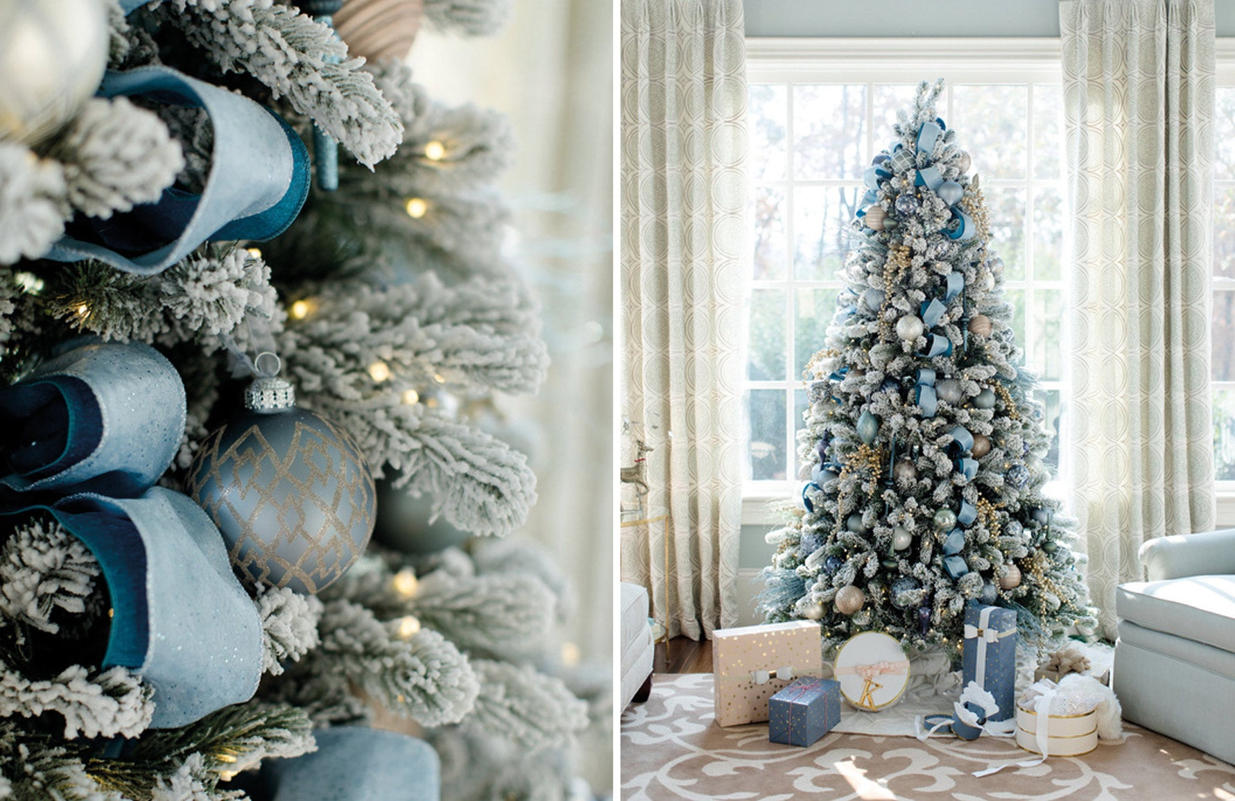 Christmas Decorating Ideas | Blue Christmas Decor | Interior by Revamped | Photography by Sara D. Harper | Shop now at LuxDeco.com
