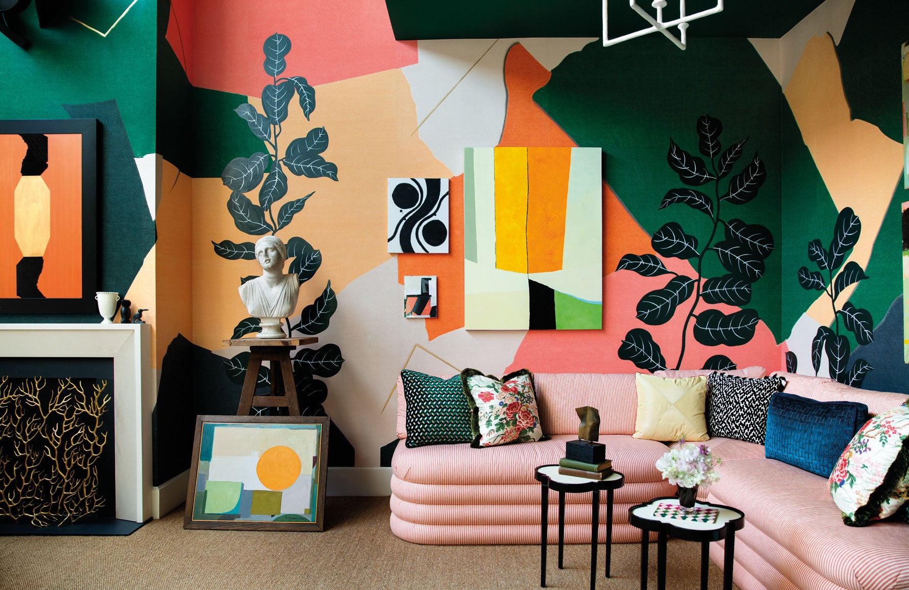 Designer Wall Mural | Colourful Living Room | Young Huh living room | The Luxurist | Read more at LuxDeco.com
