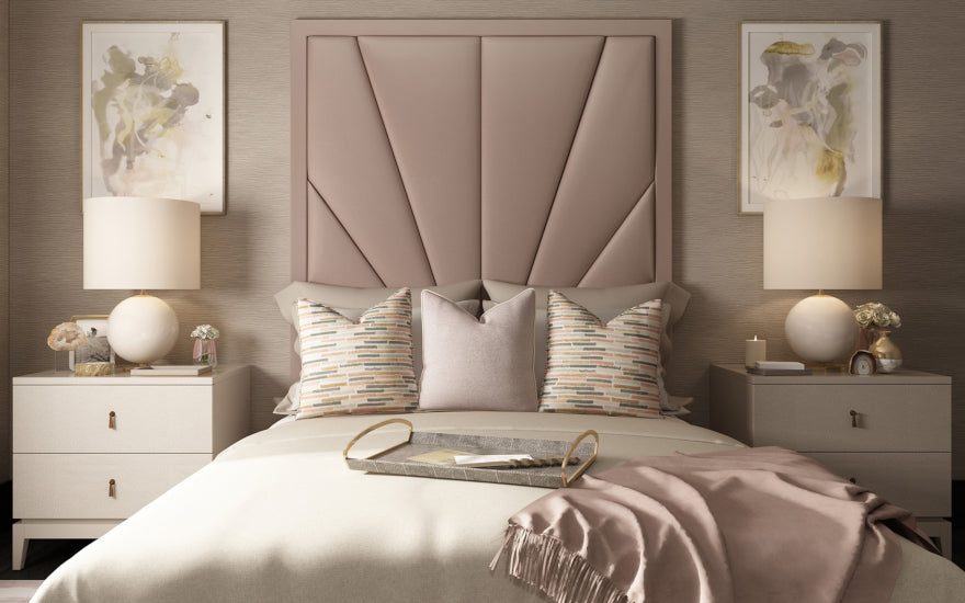 Dusky Pink Bedroom Shade - Pink Bedroom Ideas - How to Decorate Rooms with Pink - LuxDeco.com Style Guide