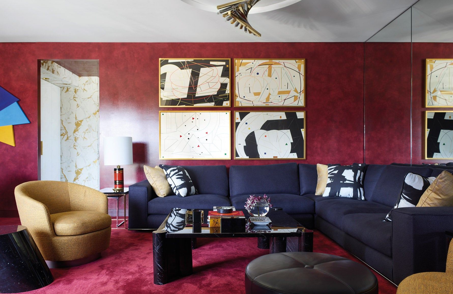 Greg Natale Living Room | Red Living Room | The Luxurist | LuxDeco.com