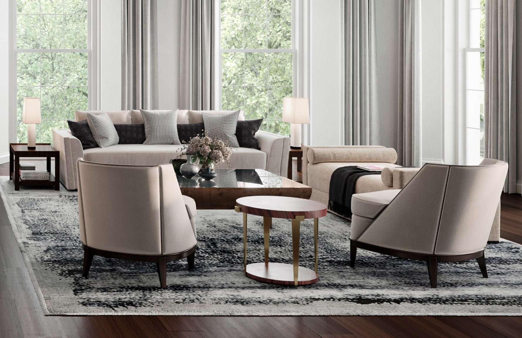 How To Style Your Sofa Cushions – Alternating patterns cushion arrangement – Shop Luxury Cushions at LuxDeco.com