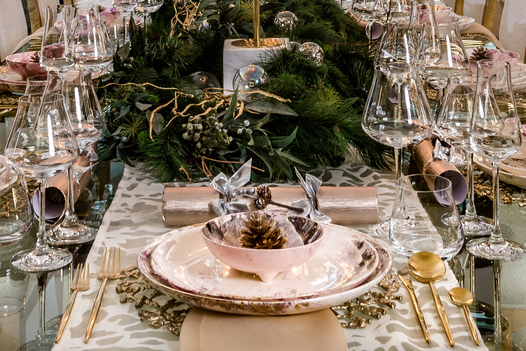 Luxury Christmas Table Setting | Muted Gold Tableware | LuxDeco.com