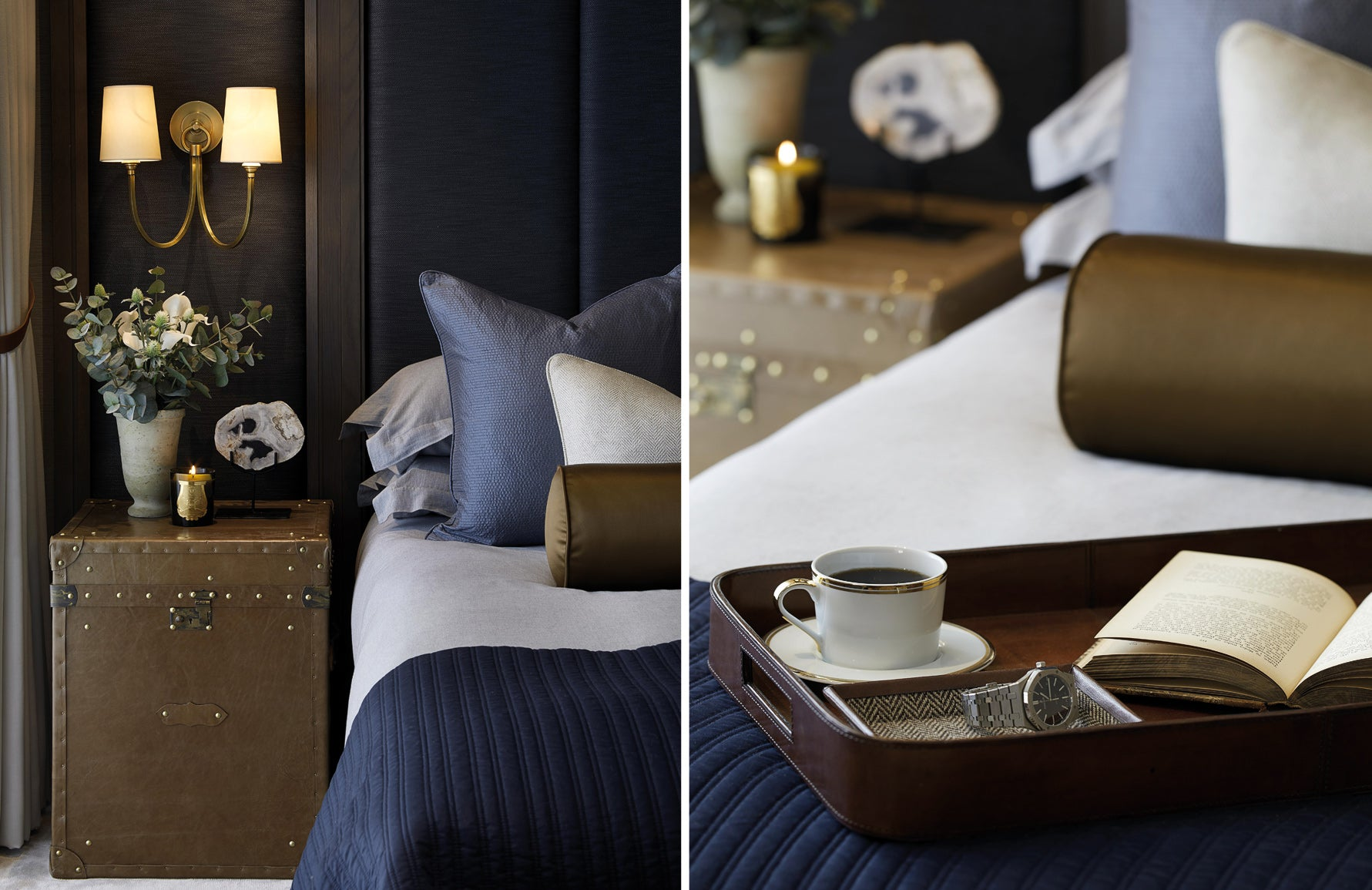 How to Get Guest Ready for Christmas | Navy Bedroom Ideas | Laura Hammett Interiors | LuxDeco.com Style Guide