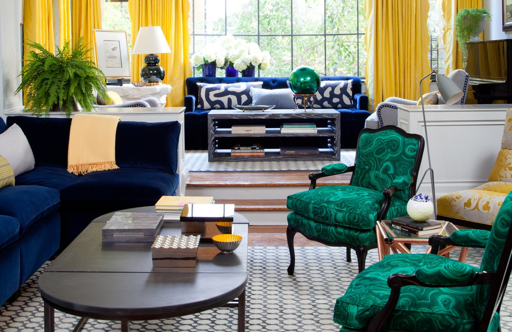 Yellow, Blue and green Living Room Colour Palettes - Lounge Colour Schemes & Colour Combination ideas – LuxDeco Style Guide