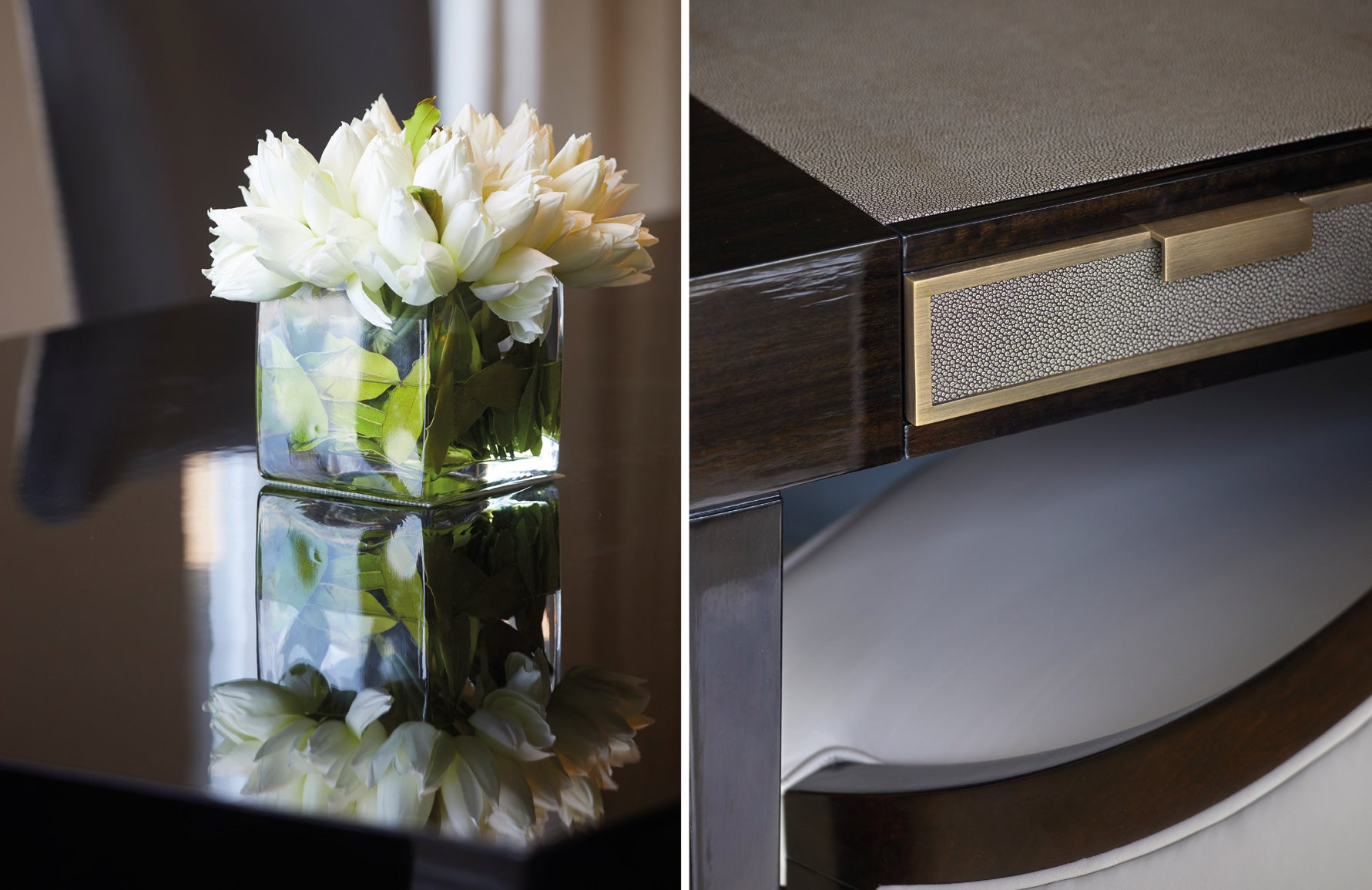 Luxury Furniture Details | Artificial Flowers | Shagreen Desk Detail | Shop the look on LuxDeco.com