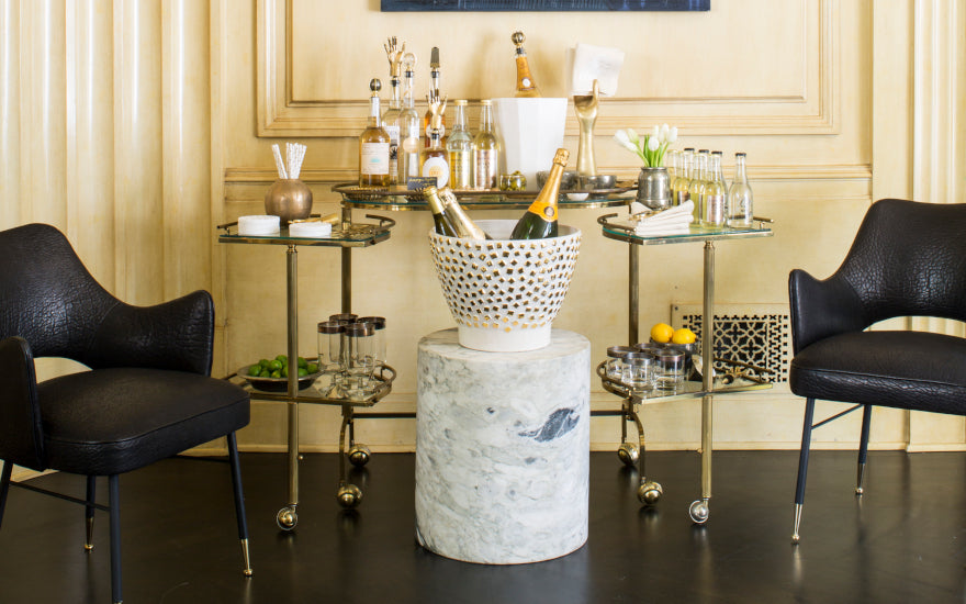 Luxury Home Bar Ideas | Home Bar Drinks Trolleys | Kelly Wearstler | LuxDeco.com
