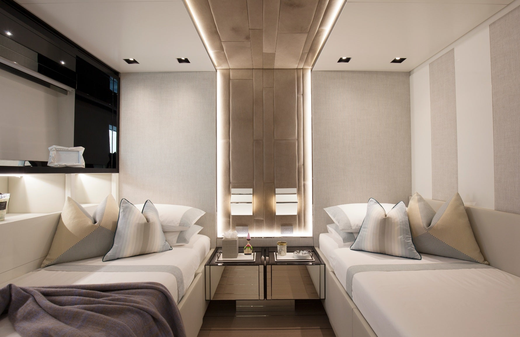 Luxury Superyacht Interior Design Ideas - Twin Bedroom Cabin Yacht Interior - LuxDeco.com Style Guide
