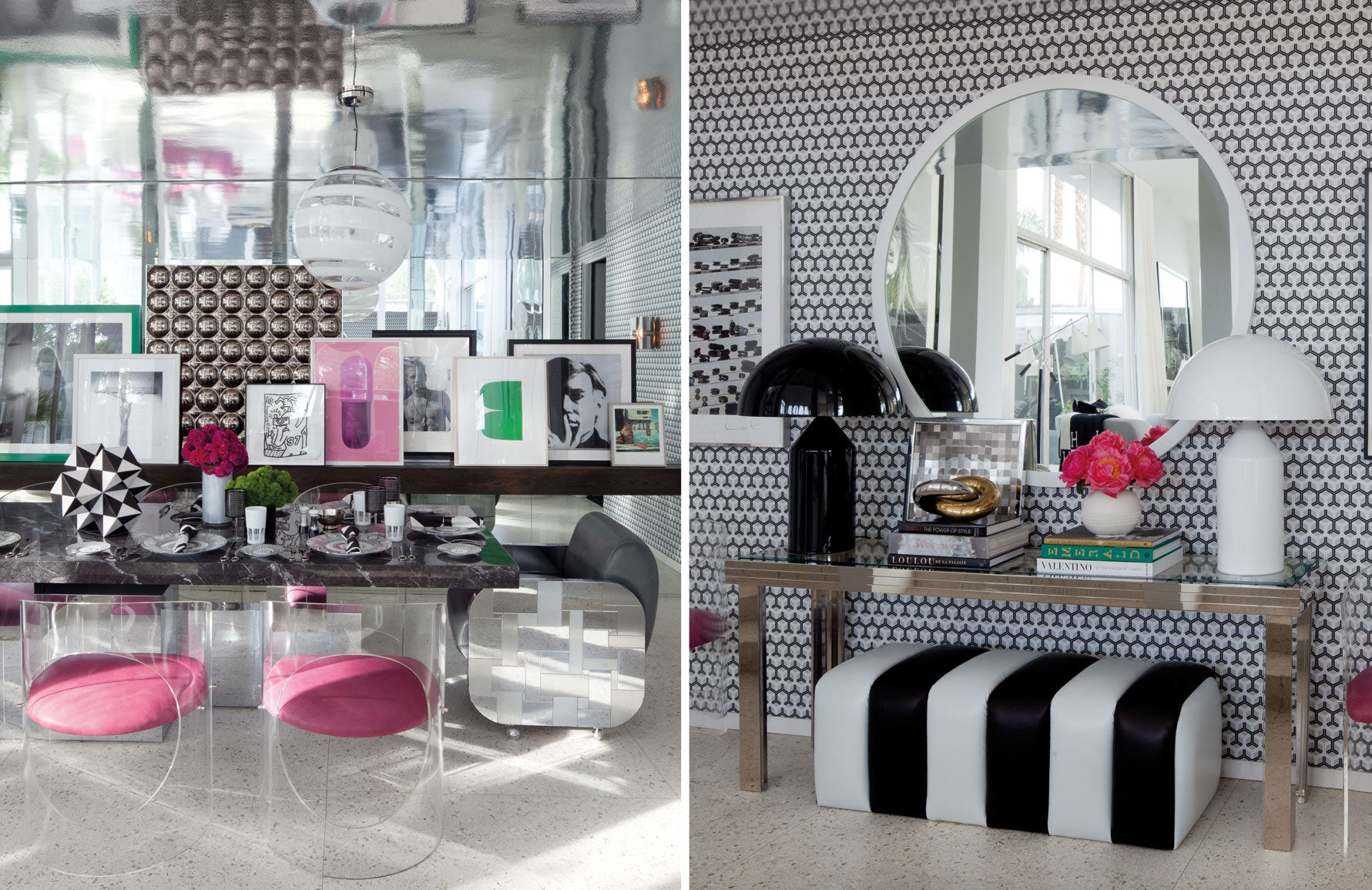 Martyn Lawrence Bullard home | Celebrity interior designer | Pink, black and white living room | Read more in The Luxurist at LuxDeco.com