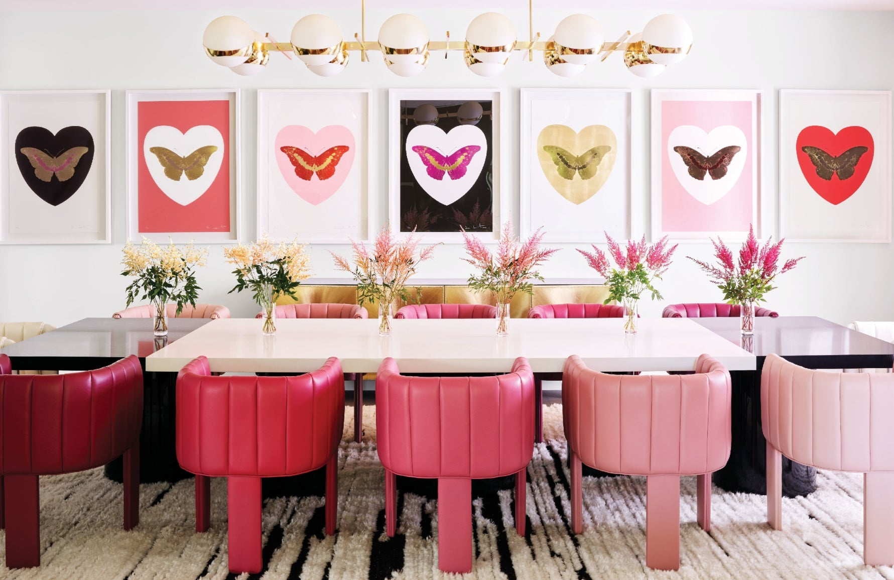 Millennial Pink Interiors | Kylie Jenner home by Martyn Lawrence Bullard | Shop pink furniture online at LuxDeco.com