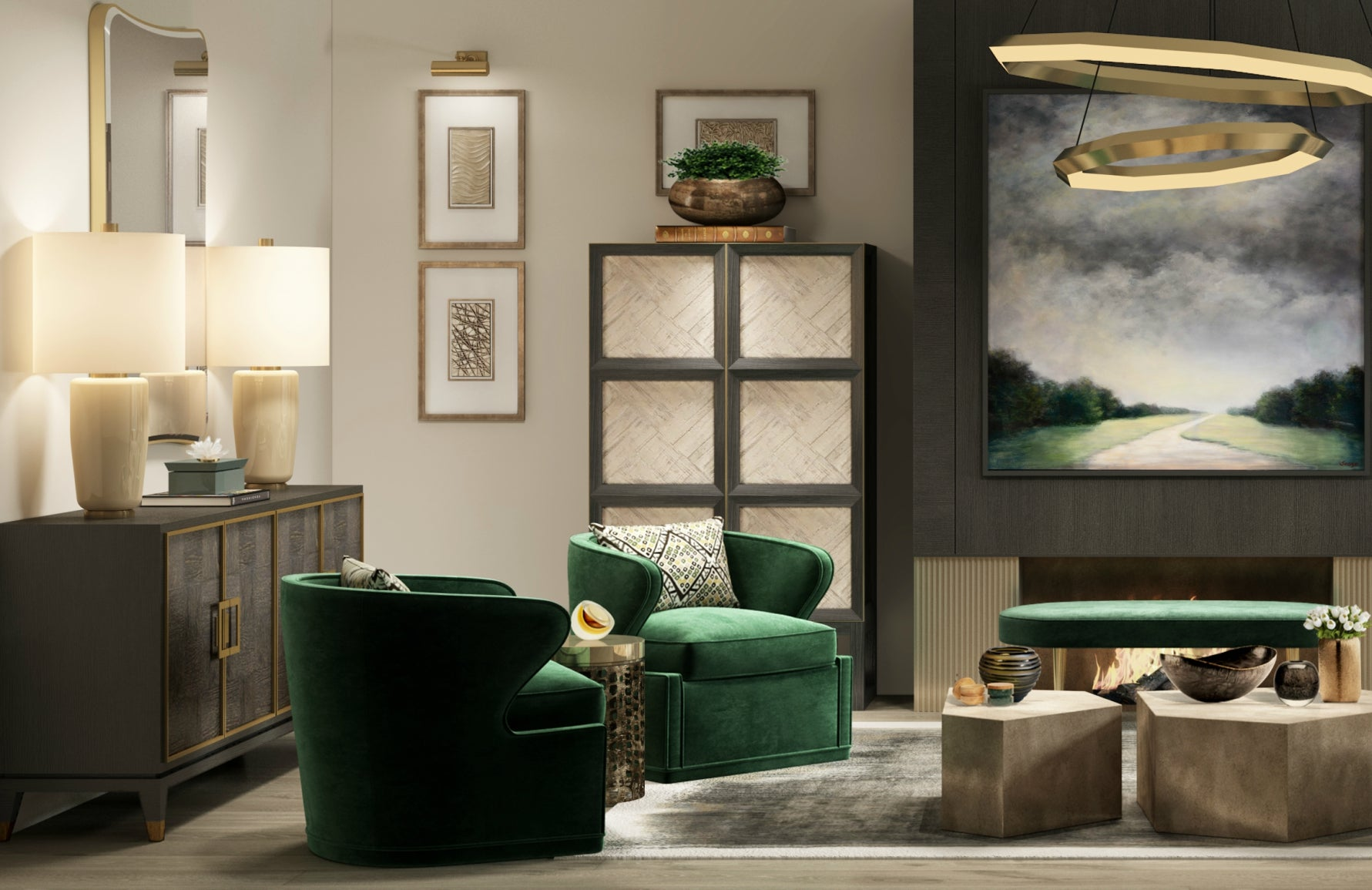 Luxury Green Living Room | Luxury Interior Design | Shop our Wimbledon Collection at LuxDeco.com