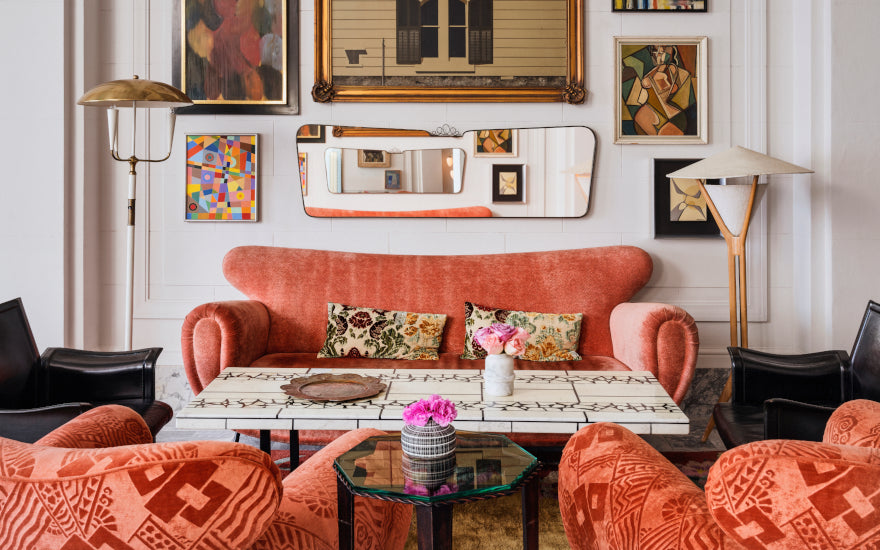 Orange Living Room ideas - How to Decorate with Orange - Kelly Wearstler - LuxDeco Style Guide