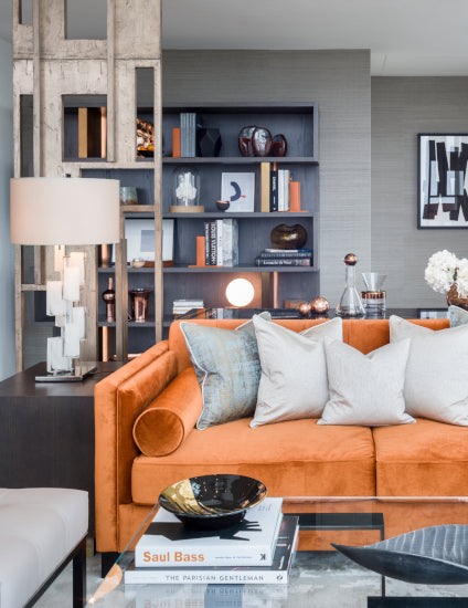 Orange Living Room ideas - Orange and Grey Living Room - Goddard Littlefair - Photography by Gareth Gardner - LuxDeco Style Guide