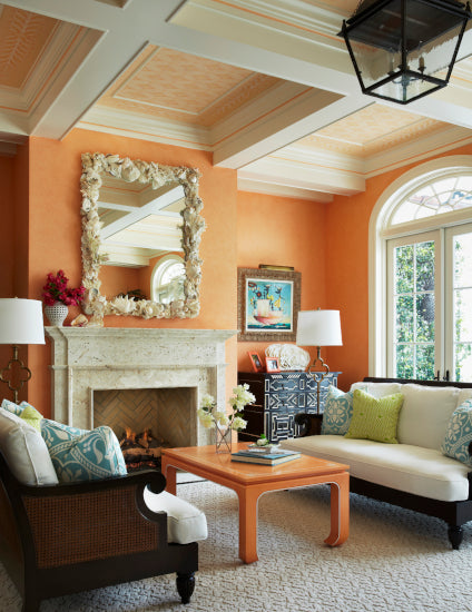 Orange Living Room ideas - Peach Orange Living Room - Carmel Brantley - LuxDeco Style Guide