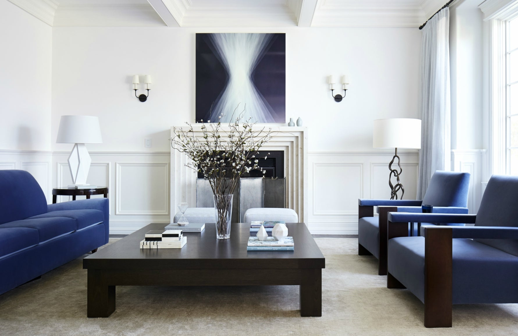 Pantone Colour of the Year 2020 | Classic Blue | Heather Hilliard Living Room | Read more in the LuxDeco.com Style Guide