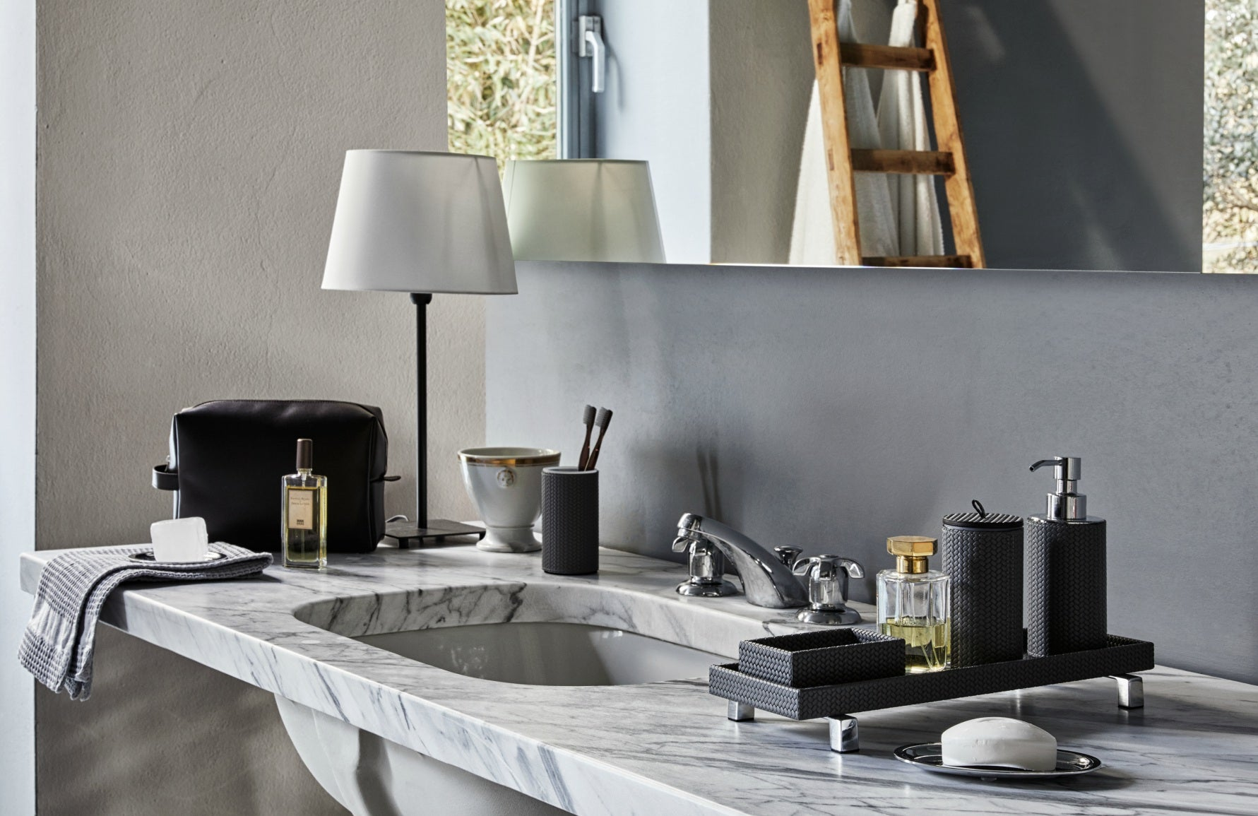 Pinetti Leather Bathroom Accessories | Made In Italy | Read more in The Luxurist | LuxDeco.com