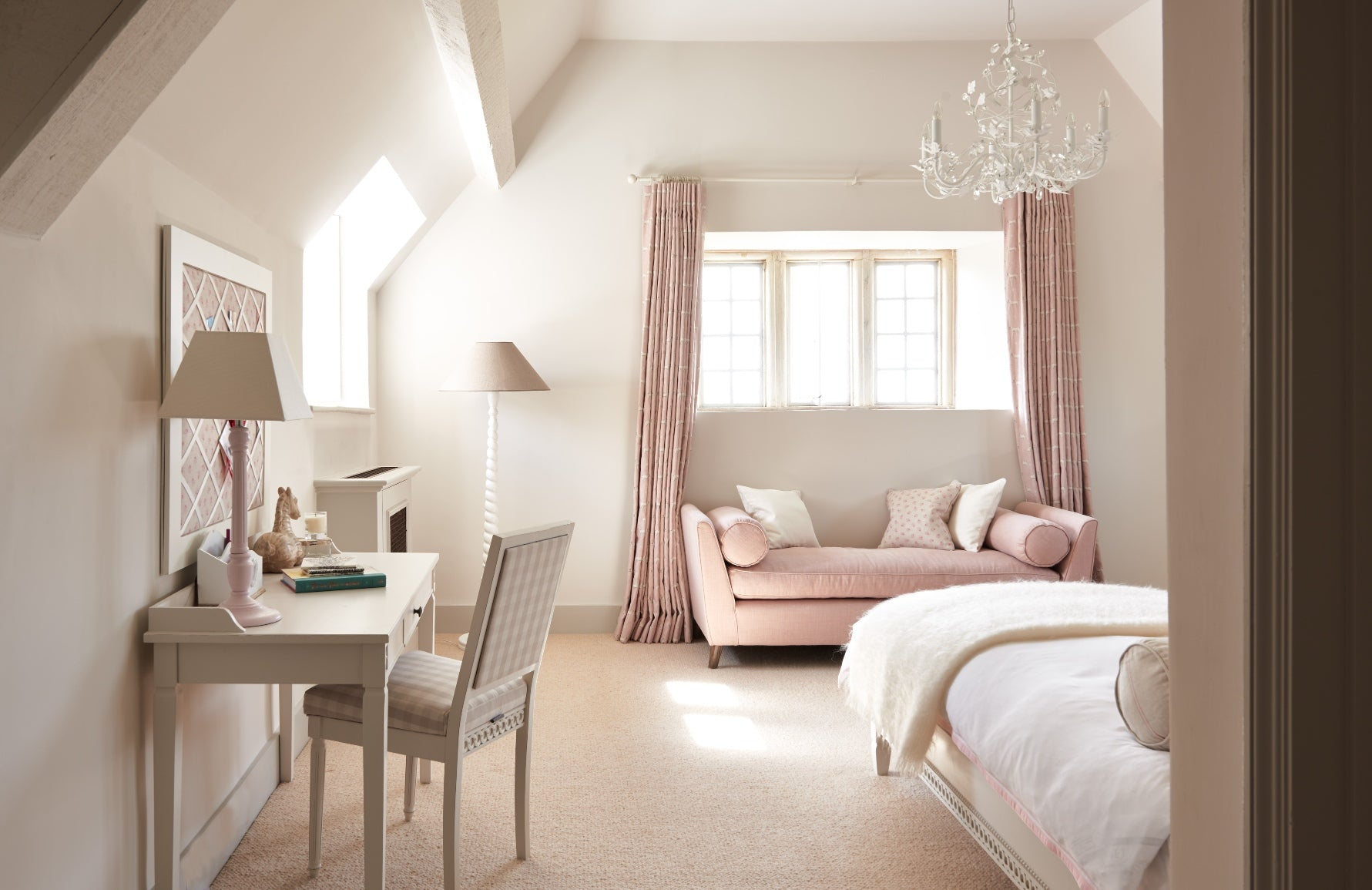 Pink and White Bedroom - Pink Bedroom Ideas - How to Decorate Rooms with Pink - LuxDeco.com Style Guide