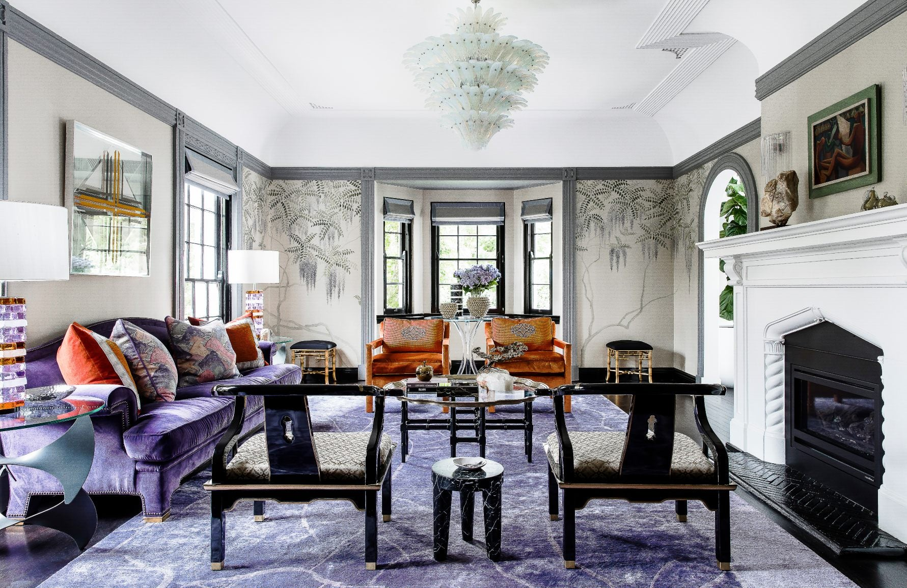Purple Living Room | Interior by Brendan Wong | Shop colourful decor on LuxDeco.com