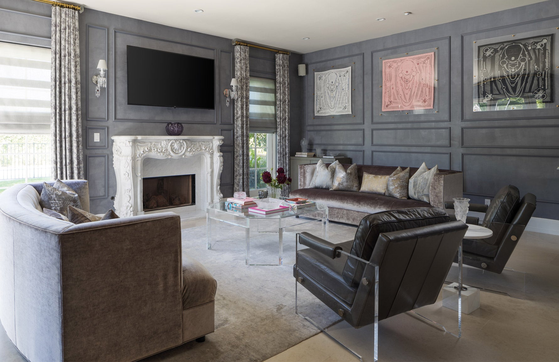 Ryan Saghian | Grey Living Room | Read more on the LuxDeco.com Style Guide