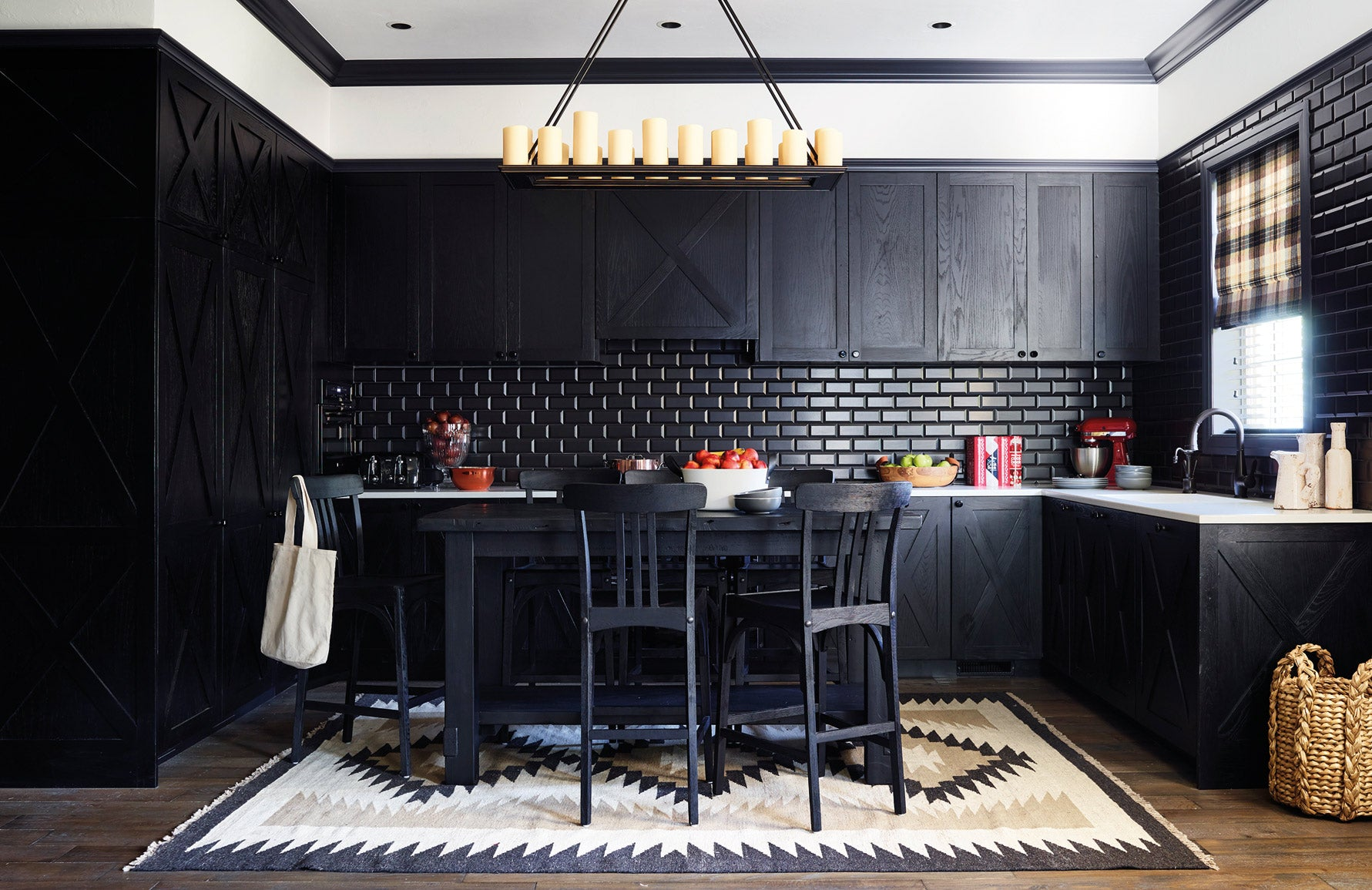 Shop Luxury Rugs Online at LuxDeco.com | Interior Design by Greg Natale | Bold Black Kitchen