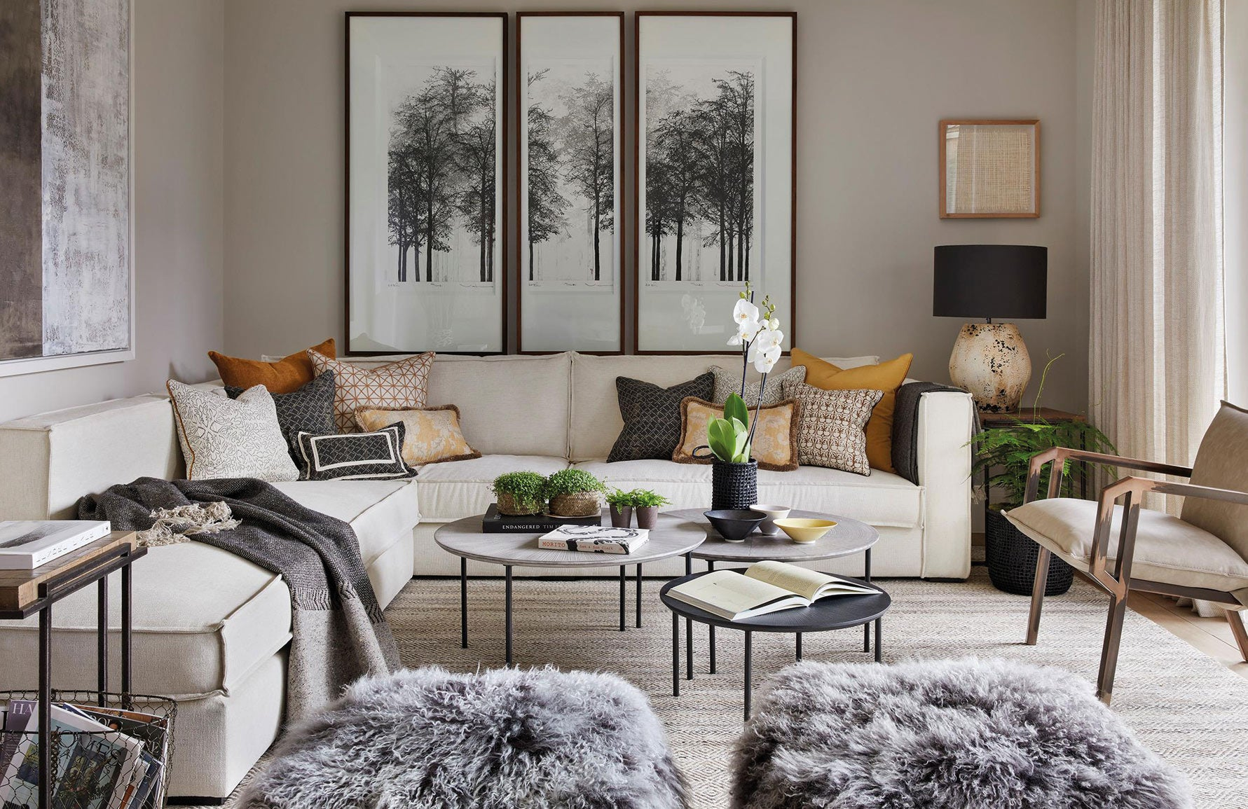 Shop Luxury Rugs Online at LuxDeco.com | Interior Design by Louise Bradley | Elegant Beige Living Room