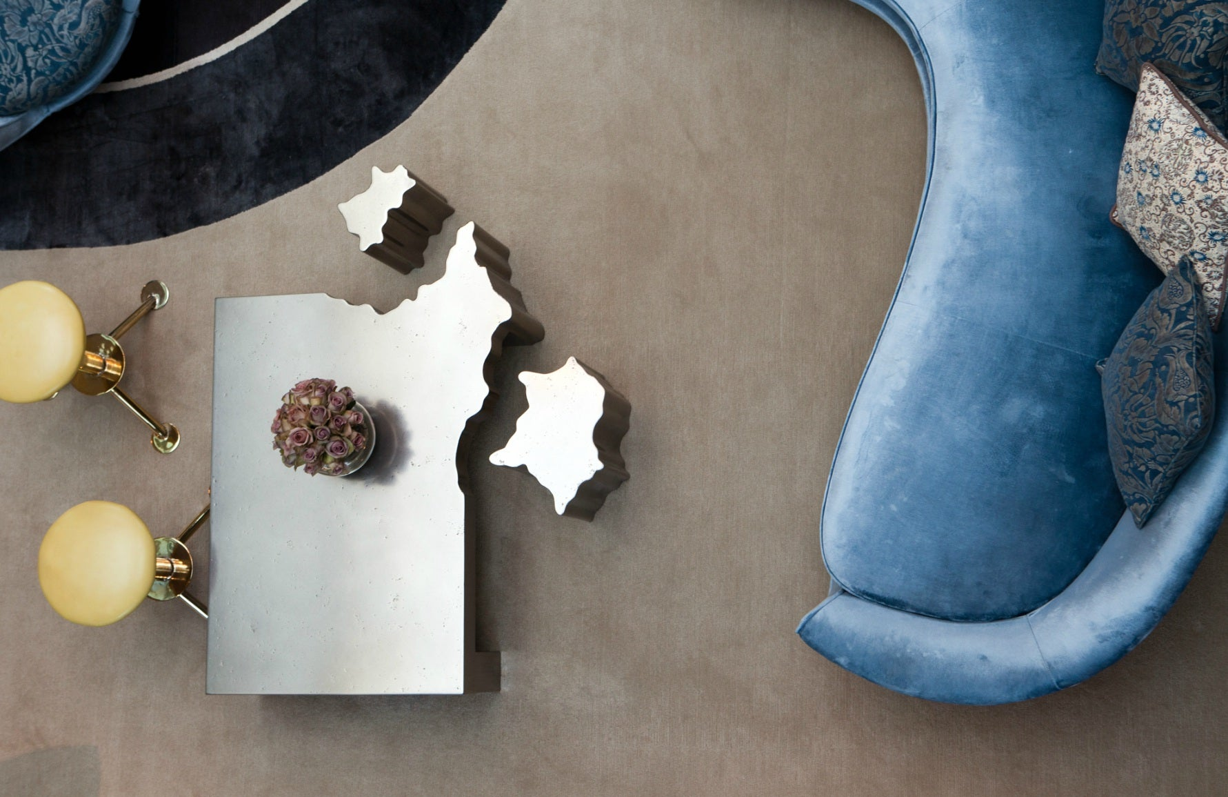 Spinocchia Freund | Meet The Designer | Blue Curved Sofa, Silver Coffee Table | The Luxurist | LuxDeco.com