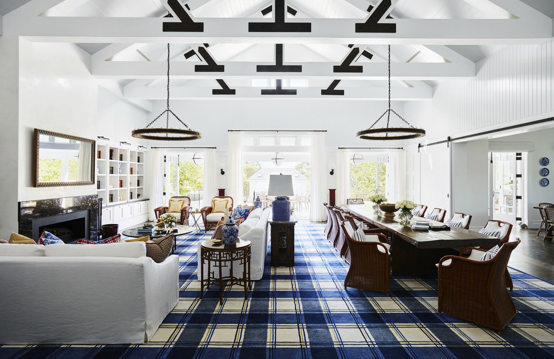 Tartan Living Room Ideas | White and Blue Living Room | Interior design by Greg Natale | LuxDeco.com
