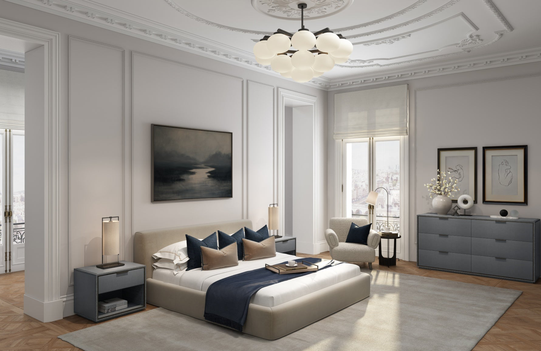 The Paris Lookbook | Modern Paris Bedroom | Shop now at LuxDeco.com