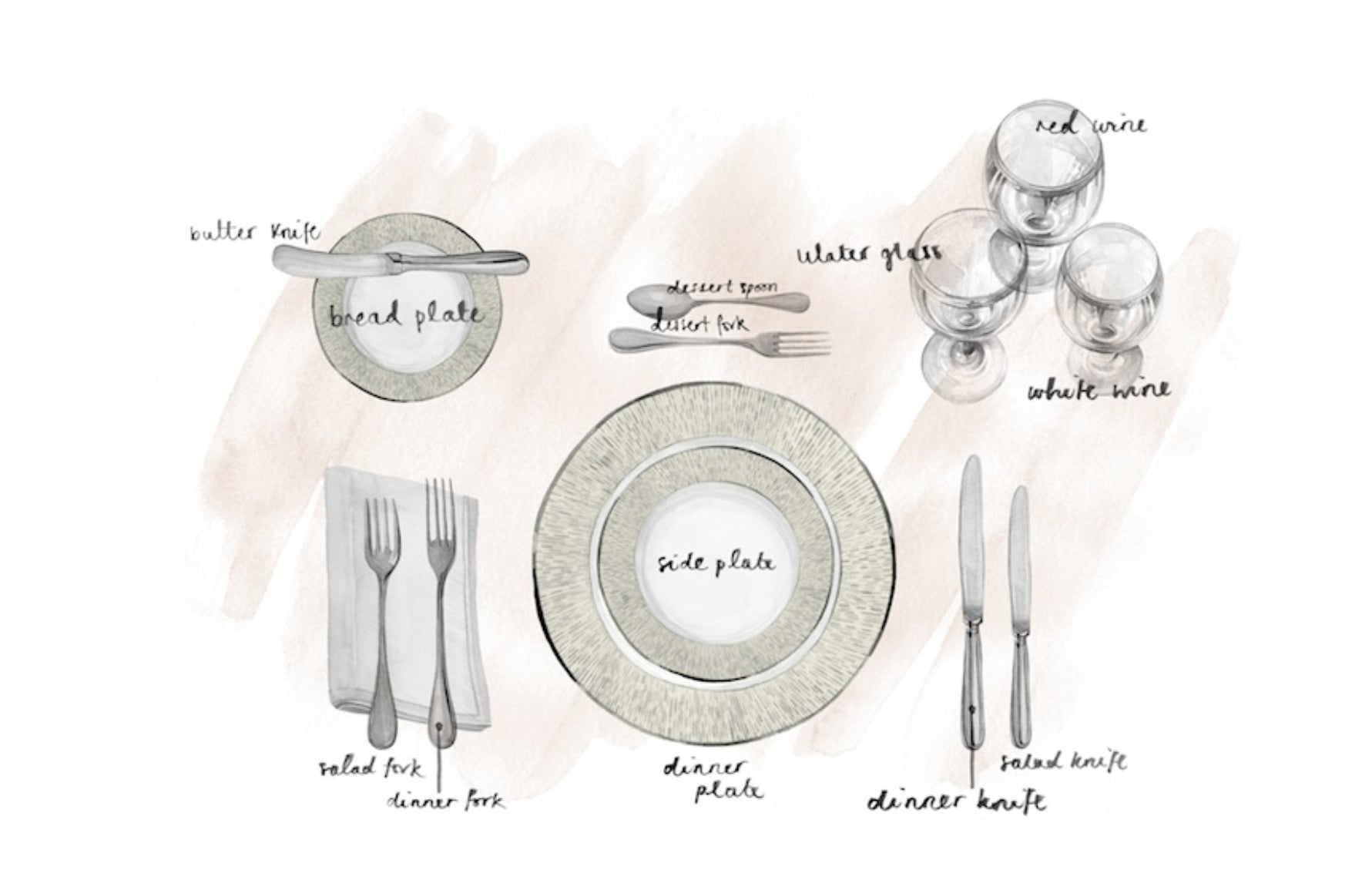 Place Setting:A place setting with a coffee cup, glass, and