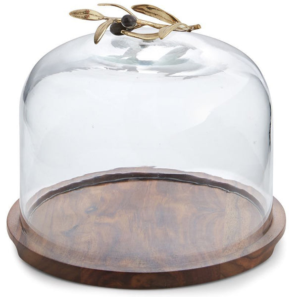 Olive Branch Glass Serving Dome