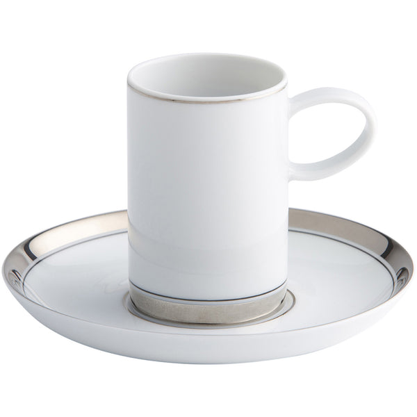Domo Silver Coffee Cup and Saucer