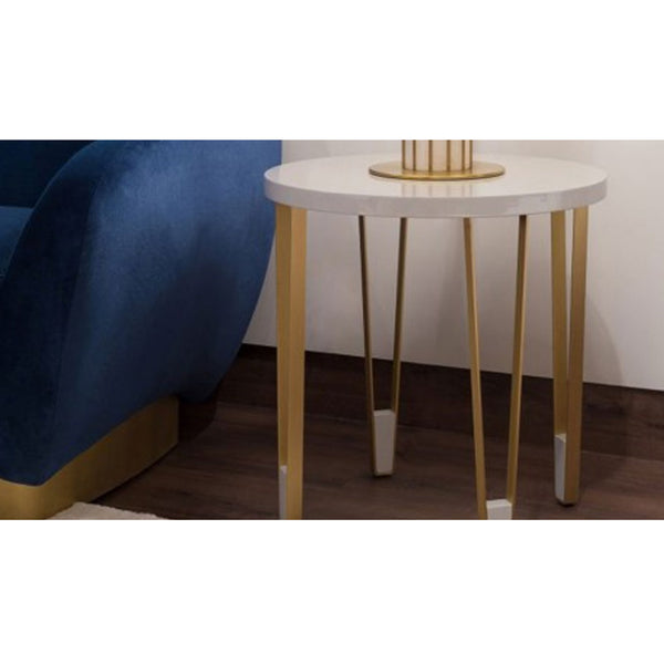 Ionic Side Table - Round - Light Grey Lacquered Insidherland Ionic Side Table - Round - Light Grey Lacquered