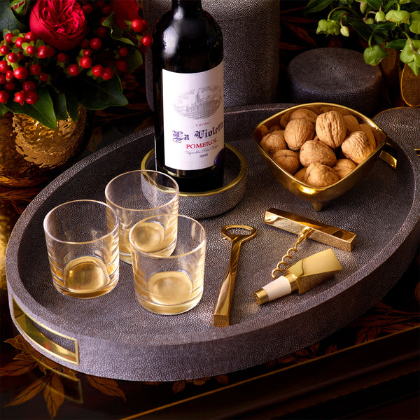 Chocolate Shagreen Wine Coaster AERIN Chocolate Shagreen Wine Coaster