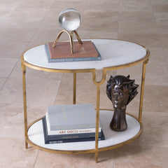 Iron & Stone Side Table LuxDeco Iron & Stone Side Table