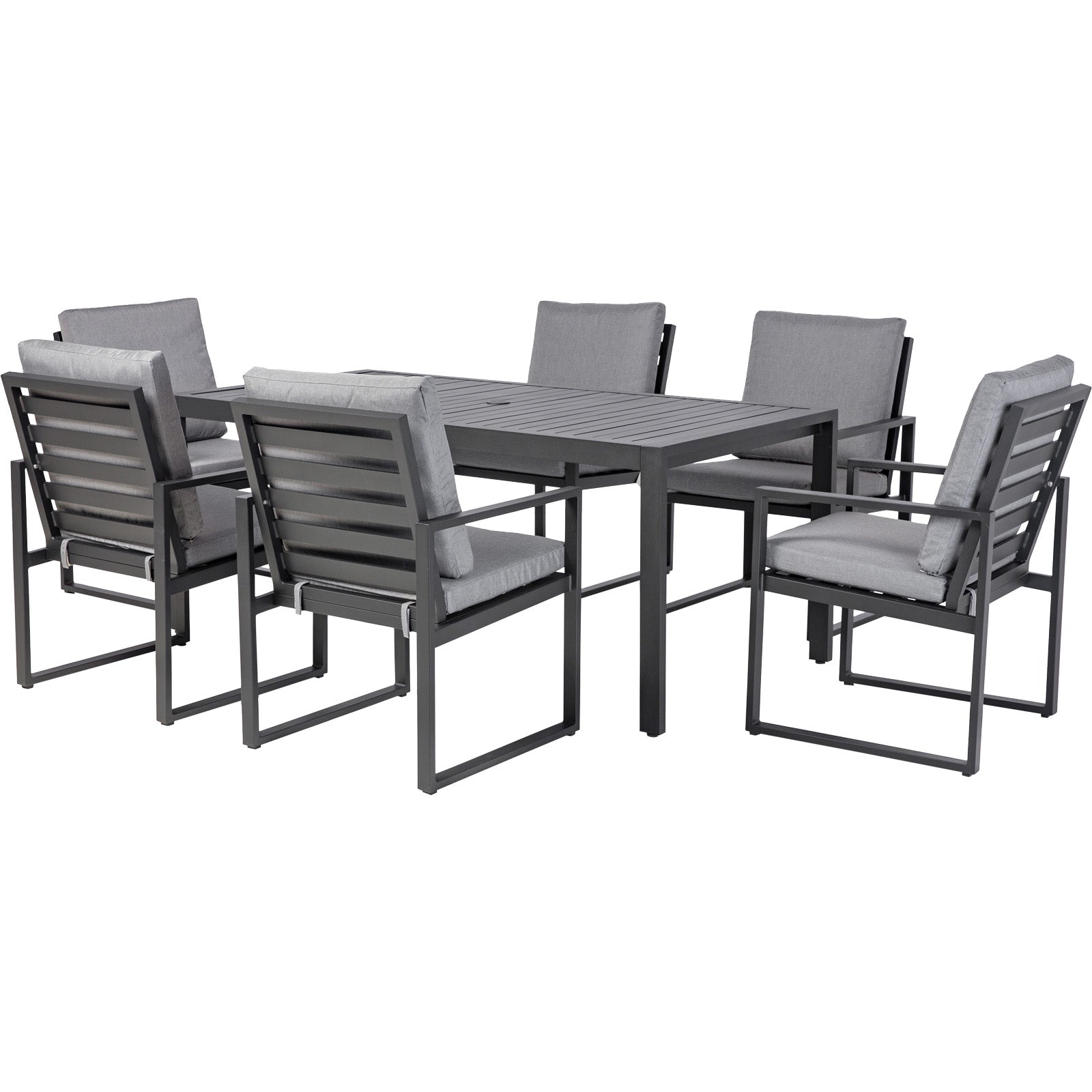 Amalfi 6 Seat Rectangular Dining Set - Slatted Chair