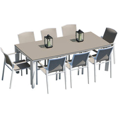 Madison 220 Rectangular Table and 8 Madison Chairs Westminster white