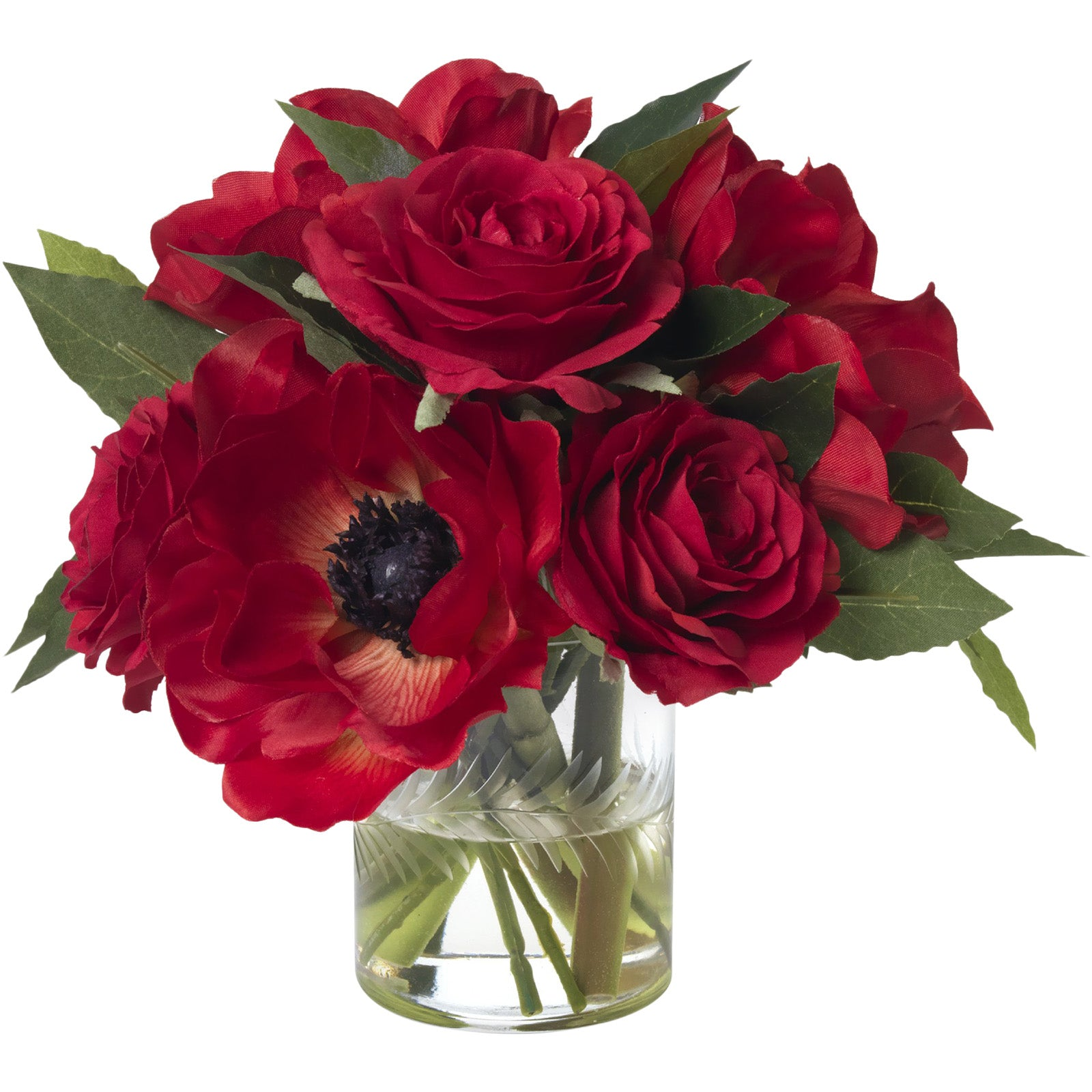 Anemone & Red Rose Bouquet
