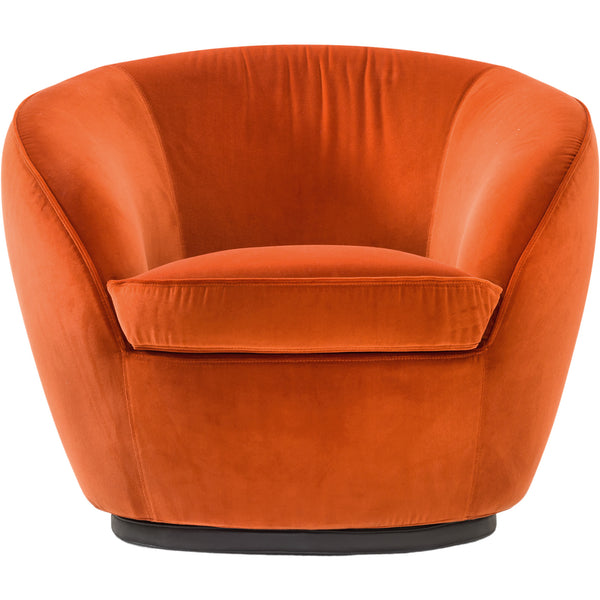 Giulia Swivel Armchair Black Tie Orange