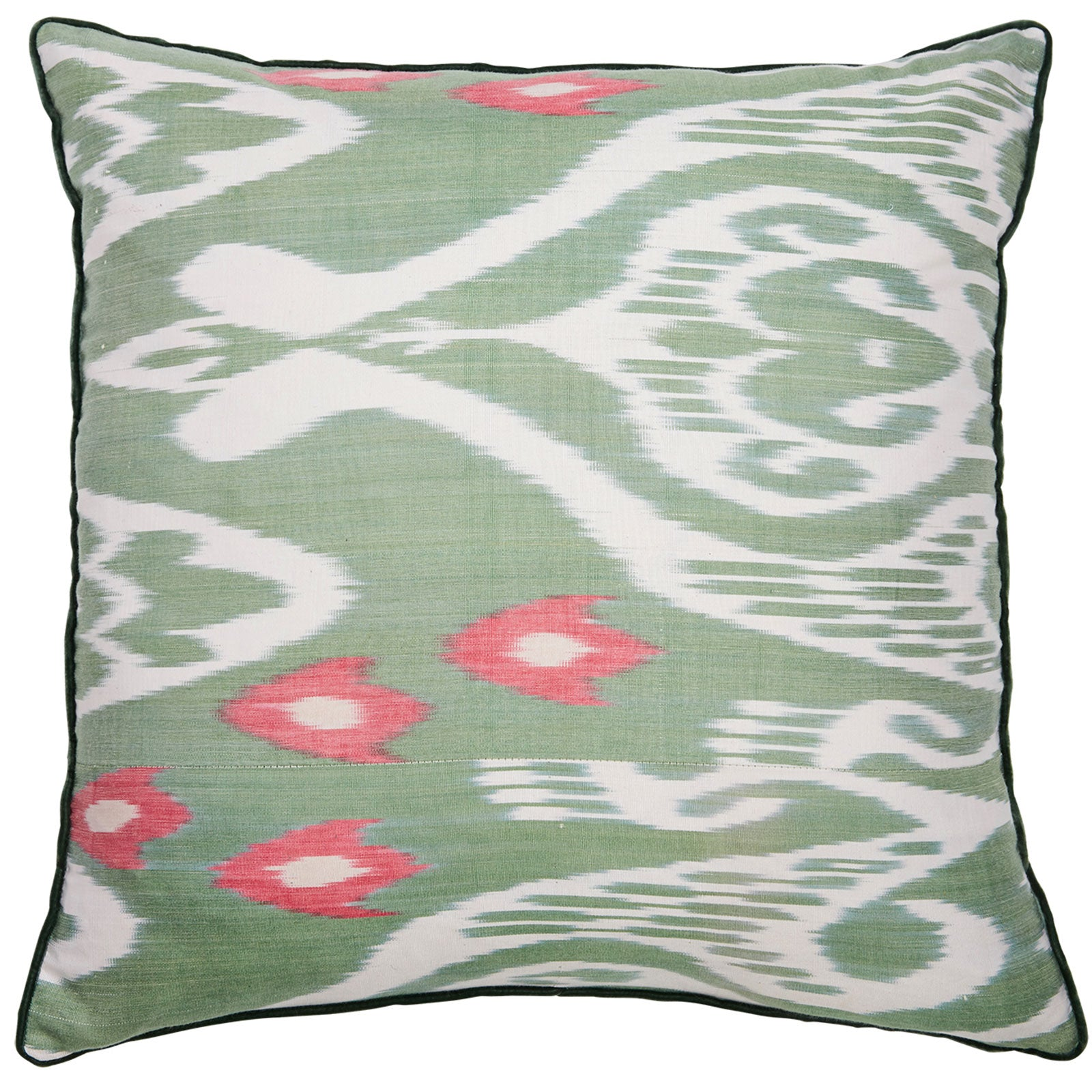 Green & Pink Square Silk Ikat Cushion