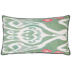 Green & Pink Silk Ikat Cushion Rosanna Lonsdale Green & Pink Silk Ikat Cushion