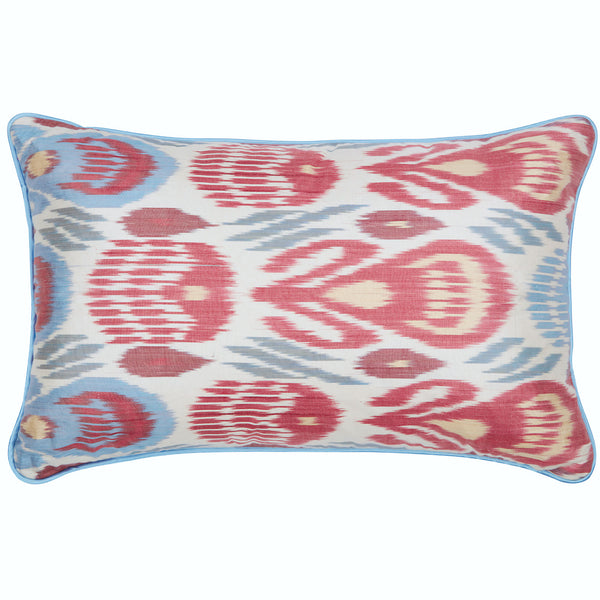 Red, Green & Blue Silk Ikat Cushion Rosanna Lonsdale Red, Green & Blue Silk Ikat Cushion