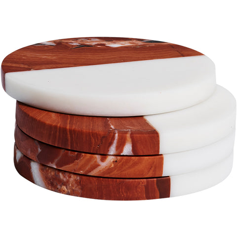 Rosso & Bianco Marble Coasters